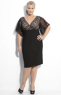 Adrianna Papell lace & knit dress - Alluring black lace over a nude-colored lining forms the faux-wrap bodice of a cocktail dress designed with sheer flutter sleeves. A shutter-pleat knit skirt finishes the curvaceous style. Xl Mode, Mode Plus, Girls Plus Size Dresses, Plus Size Outfits, Curvy Fashion, Plus Size Fashion, Girl Fashion, Knit Dress, Dress Up