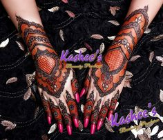 Black and red mehndi design by kashee 's beauty parlour