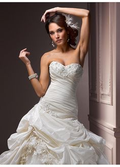 Elegant Exquisite Taffeta & Tulle A-line Sweetheart Wedding Dress