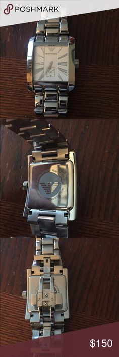 Emporio Armani watch Stainless steel watch with white face. Few minor scratches from occasional ware. Emporio Armani Accessories Watches