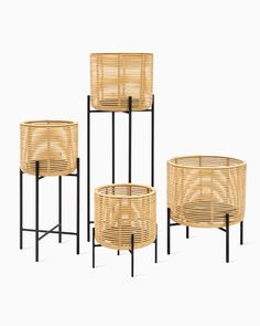 The Vivi plant stands in natural rattan are ideal for bringing the outside inside. The combination of black powder coated steel and warm wicker material turns the planters into contemporary eye-catchers. Metal Plant Stand, Modern Plant Stand, Diy Plant Stand, Rattan Planters, Bamboo Furniture, Guest Room Office, Outdoor Chairs, Outdoor Decor, Plant Holders