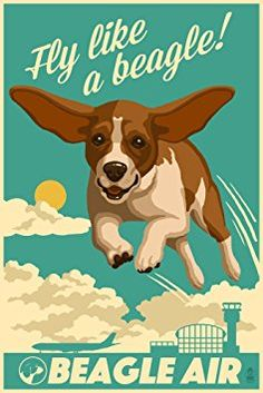 Beagle - Retro Aviation Ad (12x18 Art Print, Wall Decor Travel Poster)