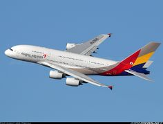 Asiana Airlines A380-841 departing JFK
