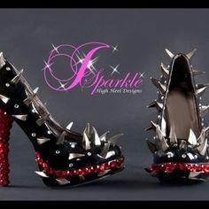 Black Pumps \ High Heels - MIRROR GLASS Cinderella | Claw Spike Custom High Heel by JSparkle High Heel Designs