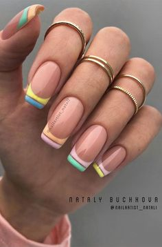 French Manicure Acrylic Nails, French Tip Nails, Colorful Nail, Art Deco Nails, Cute Gel Nails, Lines On Nails, Rose Gold Nails, Gorgeous Nails, Stylish Nails
