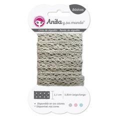 #Cinta de algodón color gris de 1,83 metros de largo y 1,1 cm de ancho. Perfecta para decorar, coser o pegar en tus proyectos de #scrapbooking.
