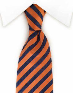 Dark Blue & Orange Striped Tie