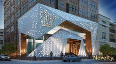 City Mobel on Behance Concept Models Architecture, Architecture Building Design, Hotel Architecture, Commercial Architecture, Facade Design, Building Exterior, Modern Exterior House Designs, Exterior Design, Retail Facade