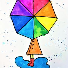 Color Wheel Umbrella Art Lesson for kids - Leah Newton Art