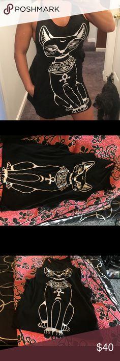Black cat tank dress Egyptian Halloween costume m Fabulous Halloween dress with side pockets! Dresses