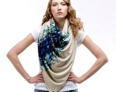 Knitwear Shawl with Snap Fastener Closure BLUE