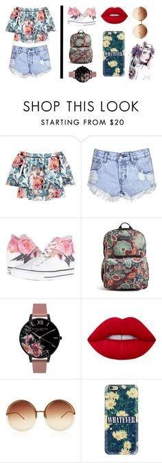 """Floral Outfit 2.0"" by rosegirlxox ❤ liked on Polyvore featuring Elizabeth and James, Glamorous, Converse, Vera Bradley, Olivia Burton, Lime Crime, Linda Farrow and Casetify"
