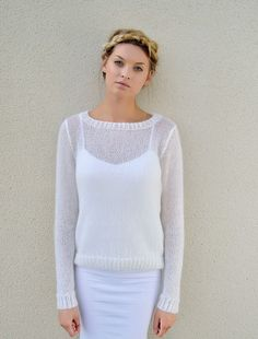 Hand knitted Mohair pullover with silk top, Mohair sweater womens, White mohair pullover, Sweater Knitting Patterns, Knit Patterns, Knitting Books, Hand Knitting, Angora, Mohair Sweater, Dame, Knitwear, Knit Crochet