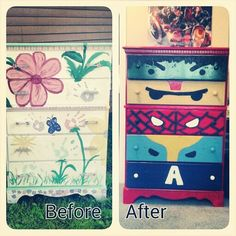 Knocked this out this weekend. Girly dresser turned superhero dresser. Change of hardware, couple coats of paint and done.