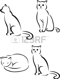 cat silhouette Cat Drawing, Contour Drawings, Flower Tattoos, Cat Tattoos, Cat Art, Vector Art, Outline Drawings, Cat Outline Tattoo, Cat Silhouette