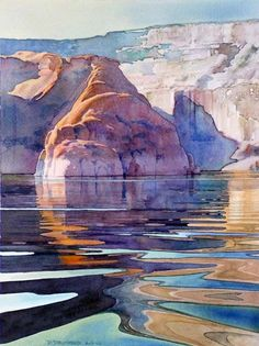 Rock Creek Bay #15: Original watercolor painting art landscape of Lake Powell by artist and painter David Drummond. It really captures the glassy water to a T.