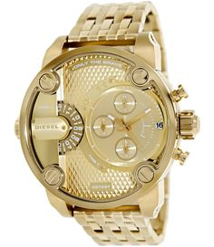 Diesel dz7287 gold tone stainless steel chronograph men watch.  Combine Little Daddy's enormity with a gold-tone execution, and you get an attention-grabbing timepiece that is as eclectic as it is stylish.