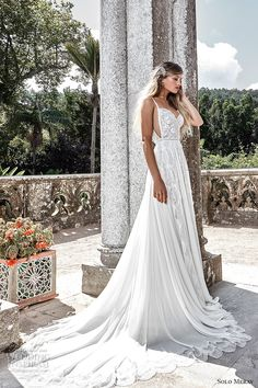 solo merav 2017 bridal half sleeves jacket spagetti strap sweetheart neckline heavily embellished bodice romantic a line wedding dress low back chapel train (emma) sdv