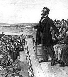 Abraham Lincoln in 1863 delivering the Gettysburg Address in Gettysburg, Pennsylvania.
