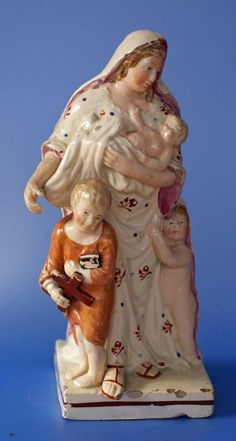 Antique Pearlware Staffordshire Pottery Figure of Mother with Children