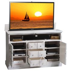 a handsome design in any room our nantucket antique white tv lift cabinet in the usa has the look of an heirloom