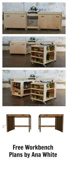 Amazing easy roll away diy workbench with built in mitersaw, table saw and kreg jig. Free plans by http://ana-white.com space saving design features two large work carts with embedded bench tools. Make building easier!