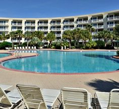 There's plenty of room for sunning around the pool at Crescent condos, right on Miramar Beach in Destin, FL.