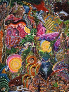 Pablo Amaringo Painting - El Encanto De Las Piedras by Pablo Amaringo Psychedelic Art, Pablo Amaringo, Canvas Poster, Canvas Art, Painting Canvas, Trippy Visuals, Psy Art, Visionary Art, Colorful Paintings