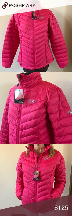 NWT MOUNTAIN HARD WEAR DUCK DOWN JACKET NEW duck down jacket from Mountain Hard Wear. Beautiful bright pink. Front zipper and 2 side zipper pockets. Pink interior lining. 75% duck down and 25% duck feathers. Will keep you super warm and stylish all Winter. Size Medium. Mountain Hard Wear Jackets & Coats