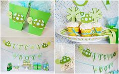 Slow & Steady Turtle It's a Boy Baby Shower package by http://pinwheellane.etsy.com