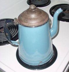 enamel blue coffee pot <3