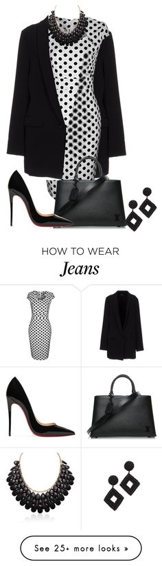 """Polka Dots in Black & White"" by shamrockclover on Polyvore featuring Twin-Set, WithChic, Louis Vuitton, Christian Louboutin, Kenneth Jay Lane, Adoriana, PolkaDots, dress, blackandwhite and dots"