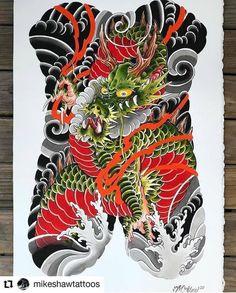 Dragon Tattoo Full Back, Full Back Tattoos, Asian Tattoos, New Tattoos, Tattoos For Guys, Japanese Dragon Tattoos, Japanese Tattoo Art, Dragon Oriental, Traditional Japanese Tattoos