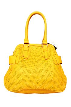 Handle Woven Handbag In Mustard