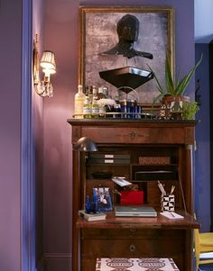 Home bar atop a secretary - David Kaihoi - colorful and chic!