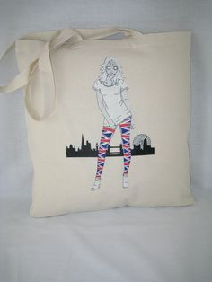 """Fun and light """"Union Alice Light"""" design on our 100% strong cottonTote Shoulder Bag, for those downtown shopping trips and more. etsy.com/uk/shop/AliceBrands ... o alicebrands.co.uk/Categories/30/Tote+Bags"""