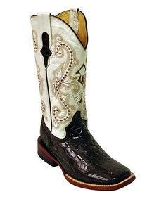 Look at this #zulilyfind! Chocolate & Pearl Gator Square-Toe Leather Cowboy Boot by Ferrini #zulilyfinds
