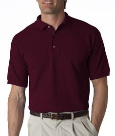 GILDAN 2800 Ultra Cotton 6 oz Jersey Polo  MAROON  L ** Learn more by visiting the image link.