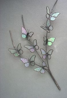 Butterfly Branch by Michele Hubble, Starlight Glassworks Stained Glass Ornaments, Stained Glass Flowers, Stained Glass Suncatchers, Stained Glass Designs, Stained Glass Projects, Stained Glass Patterns, Stained Glass Art, Mosaic Glass, Fused Glass