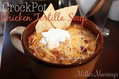 Miller Musings: CrockPot Chicken Tortilla Soup - Definitely very easy. The hardest part was chopping the onion. It was awesome coming home late and having dinner all ready. This will be perfect for when the kids have late classes.  Have made this many, many times.  Love.
