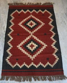 Vintage Turkish kilim Rug Wool Jute Kilim Carpet Floor Mat Red 76.2Cm x 121.92Cm #Turkish