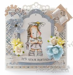 Handmade by Tamara: Tilda with Umbrella Daisy Magnolia Stamps, Magnolias, Daisy, Paper Crafts, Edwin, Drawings, Swedish House, Frame, Projects
