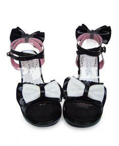 #sandales #lolita Sandales Lolita bride cheville avec noeud de papillon noir plateforme à talon