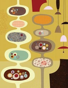 mid century modern fabric prints - Google Search