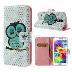 Green Sleeping Owl Wallet Leather Case w/ Stand for Samsung Galaxy S5 G900