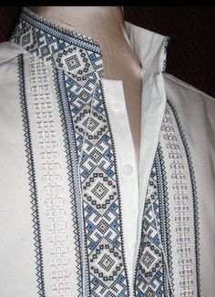Ukraine, from Iryna with love Polish Embroidery, Embroidery Fashion, Cross Stitch Embroidery, Embroidery Patterns, Ethnic Fashion, Mens Fashion, Ethno Style, African Clothing For Men, Pakistani Wedding Outfits