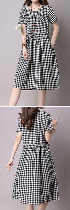 US$21.99 Printed Lattice Bowknot Tied Short Sleeve Women Dresses