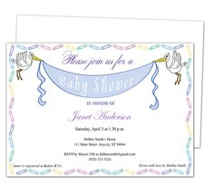 Baby Shower Invitations : Storks Printable DIY Baby Shower Template