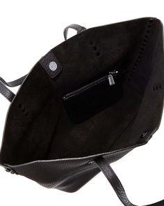 Studded Pebbled Leather Tote Bag, Black