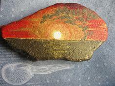 The Black Sea stone, covered with acrylic painting, sunset,seascape,Handpainted sea stones, maritime décor, a beach house décor, stone, rock